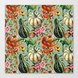 Vintage modern hand painted floral roses pumpkins pattern Canvas Print