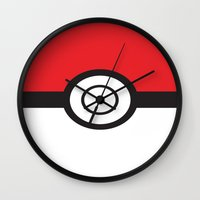 pokeball Wall Clocks featuring Pokeball by Simply Prints