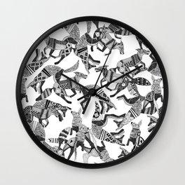 woodland fox party black white Wall Clock