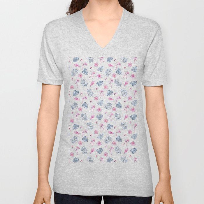 Modern watercolor blue pink tropical flamingo floral Unisex V-Neck