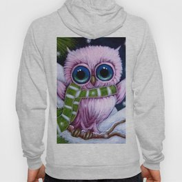 HOLIDAY TINY PINK OWL with 1ST GREEN SCARF Hoody