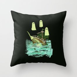 ghost pirate boat Throw Pillow