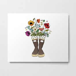 Boots n' Bouquet Metal Print
