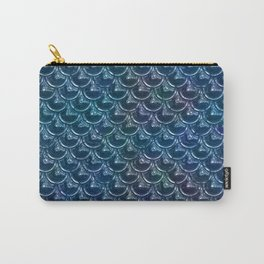 Shimmering Blue Metallic Mermaid Scales Carry-All Pouch