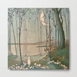 """Mushrooms in the Moonlight"" by Doreen Baxter (1922) Metal Print"