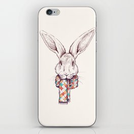 Bunny and scarf iPhone Skin