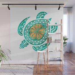 Maui Plumeria Watercolor Turtle Wall Mural