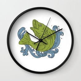 Rockfish Swooping Up Turbulent Waters Drawing Wall Clock
