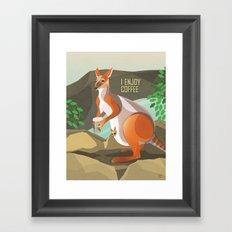 Wallaby Enjoys Coffee Framed Art Print