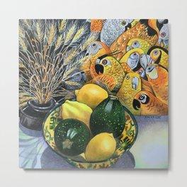 Yellow Parrots Metal Print