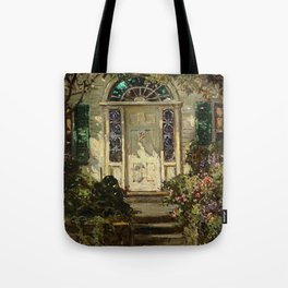 Sunny Doorway, New England, Benefit Street, Providence, Rhode Island portrait painting by Abbott Fuller Graves Tote Bag