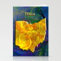ohio state Stationery Cards featuring Ohio Map by Roger Wedegis