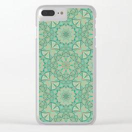 Aqua Golden Mandala Clear iPhone Case
