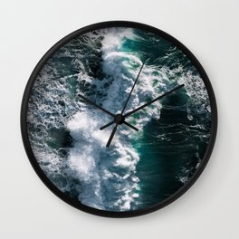 Crashing ocean waves - Ireland's seascapes at sunset Wall Clock