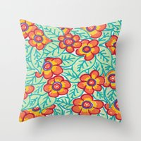 matisse Throw Pillows featuring Matisse Colours  by Lucy Auge