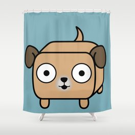 Pitbull Loaf - Fawn Pit Bull with Floppy Ears Shower Curtain