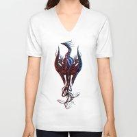 phoenix V-neck T-shirts featuring Phoenix by Giorgio Finamore