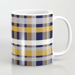 Modern Retro Plaid in Mustard Yellow, White, Navy Blue, and Grey Coffee Mug