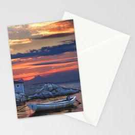 Last Light at Peggy's Cove Harbor Stationery Cards