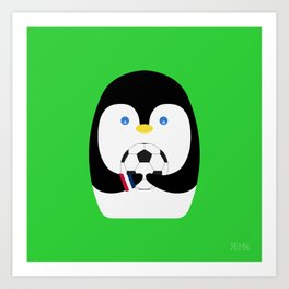 Penguin + Soccer Art Print