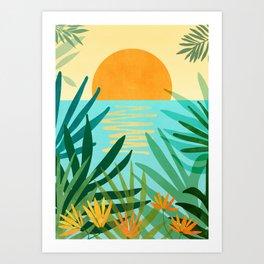 Tropical Ocean View / Landscape Illustration Art Print