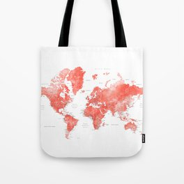 Living coral watercolor world map with cities Tote Bag