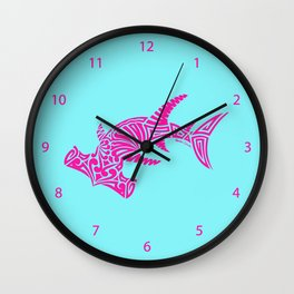 Nancy's Hot Pink Tribal Hammerhead Shark Wall Clock
