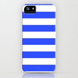 Even Horizontal Stripes, Blue and White, L iPhone Case