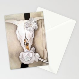 Poster-Georgia O'Keeffe-Cow skull with calico rose. Stationery Cards