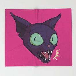 Mad Cat Throw Blanket