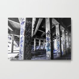 Dynamic Blue Graffiti Metal Print