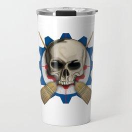 Skull & Crossbrooms - Steampunk Curling Design Travel Mug