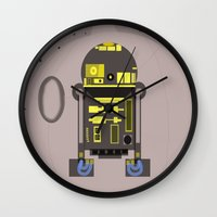 r2d2 Wall Clocks featuring R2D2 by Meg Gerena