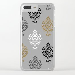 Orna Damask Art I BW Grays Gold Clear iPhone Case