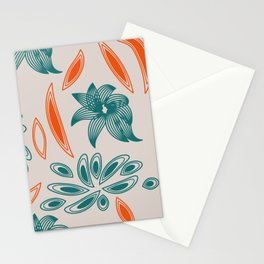 pattern with flowers and leaves Stationery Cards