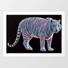 White Tiger Glow Art Print