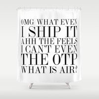 vogue Shower Curtains featuring Fangirling is so Vogue by bookwormboutique