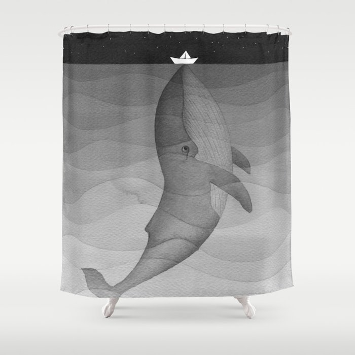 Black And White Whale Paper Boat Shower Curtain By Vapinx