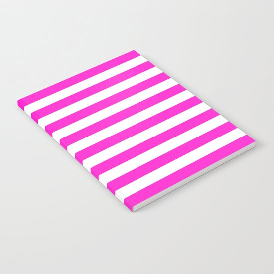 Horizontal Stripes (Hot Magenta/White) Notebook