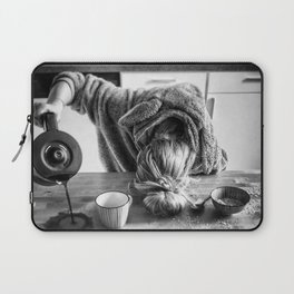First I Drink the Coffee, Then I do the Stuff - hangover black and white photograph / photography Laptop Sleeve