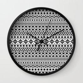 Aztec Essence Pattern Black on White Wall Clock