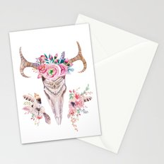 Deer skull with feathers and flowers Stationery Cards