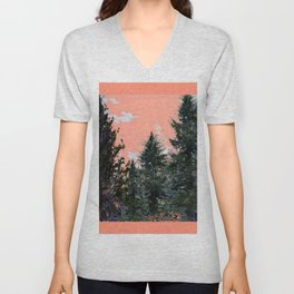 CORAL PINK WESTERN PINE TREES MOUNTAIN LANDSCAPE Unisex V-Neck