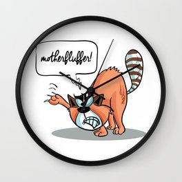MotherFluffer! - Angry Cat Wall Clock
