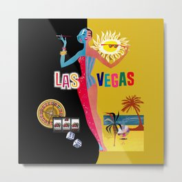 Loving Las Vegas | vintage black & gold Metal Print