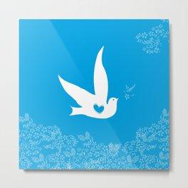 Wings of Love - Blue Metal Print