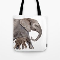 elephants Tote Bags featuring Elephants by Goosi
