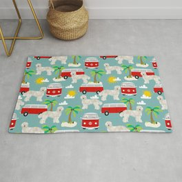 Labradoodle summer surf palm trees beaches ocean dog pattern dogs Rug