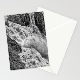 Black and White Beautiful Waterfall Stationery Cards