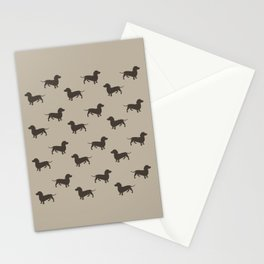 Dachshund Pattern - Tan Stationery Cards